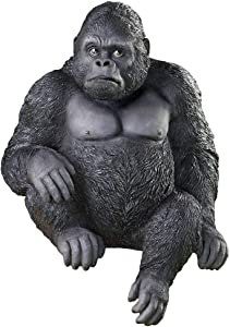 Sitting Gorilla Decorative Garden Statue - Hand Painted Details, Realistic Fur Texture - for Steps, Rails, Table, Etc. - Indoor or Outdoor Use