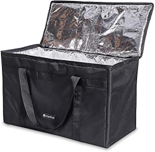 Large Insulated Food Delivery Bag - cherrboll Commercial Grade Reusable Grocery Tote Lunch Box - Lightweight for Shopping, Restaurants, Catering, Uber Eats, Pizza Carry (23.5 x 12 x 15)