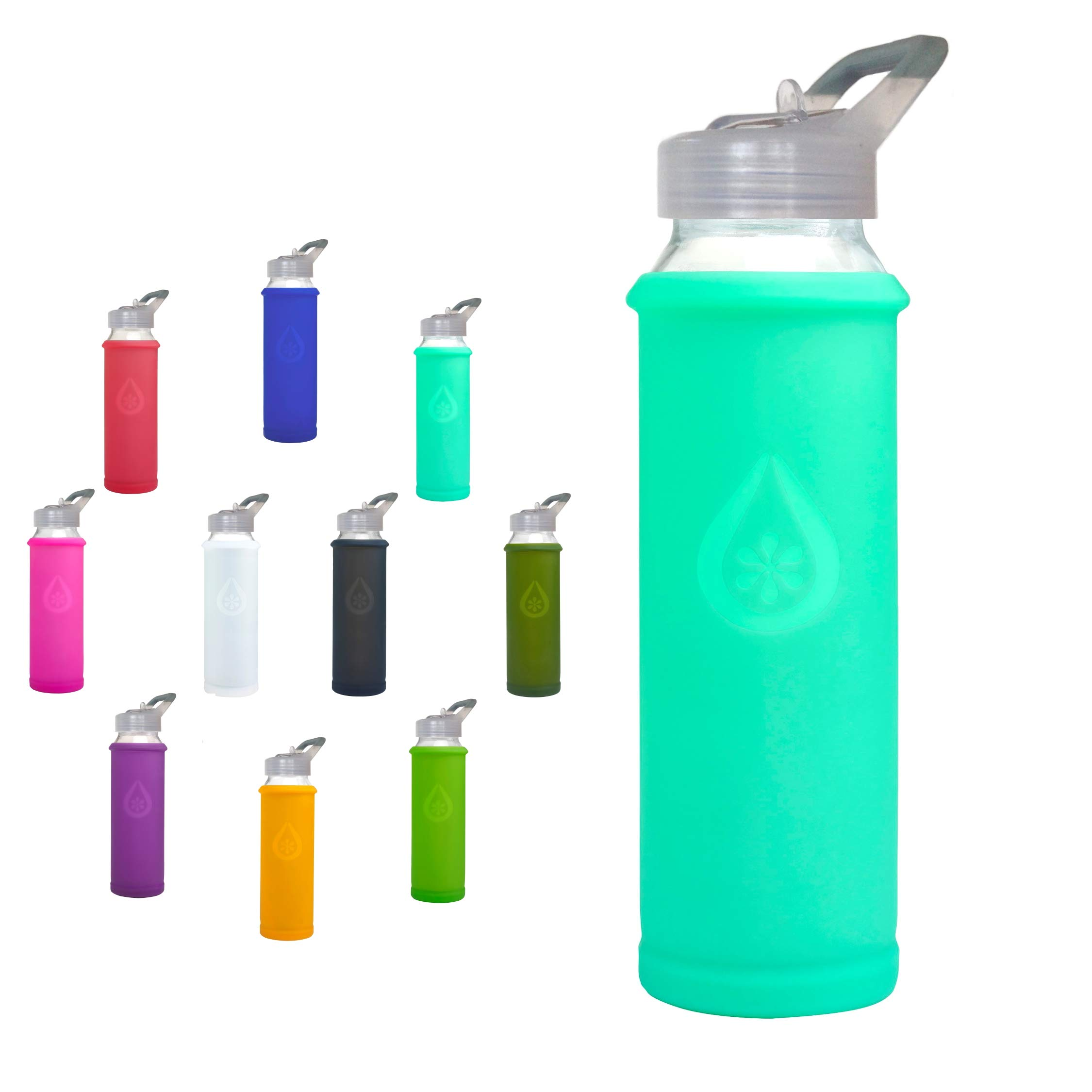 21 Ounce//630 ml Eveau Glass Water Bottle with Straw Lid Bumperguard Silicone Sleeve Wide Mouth Opening