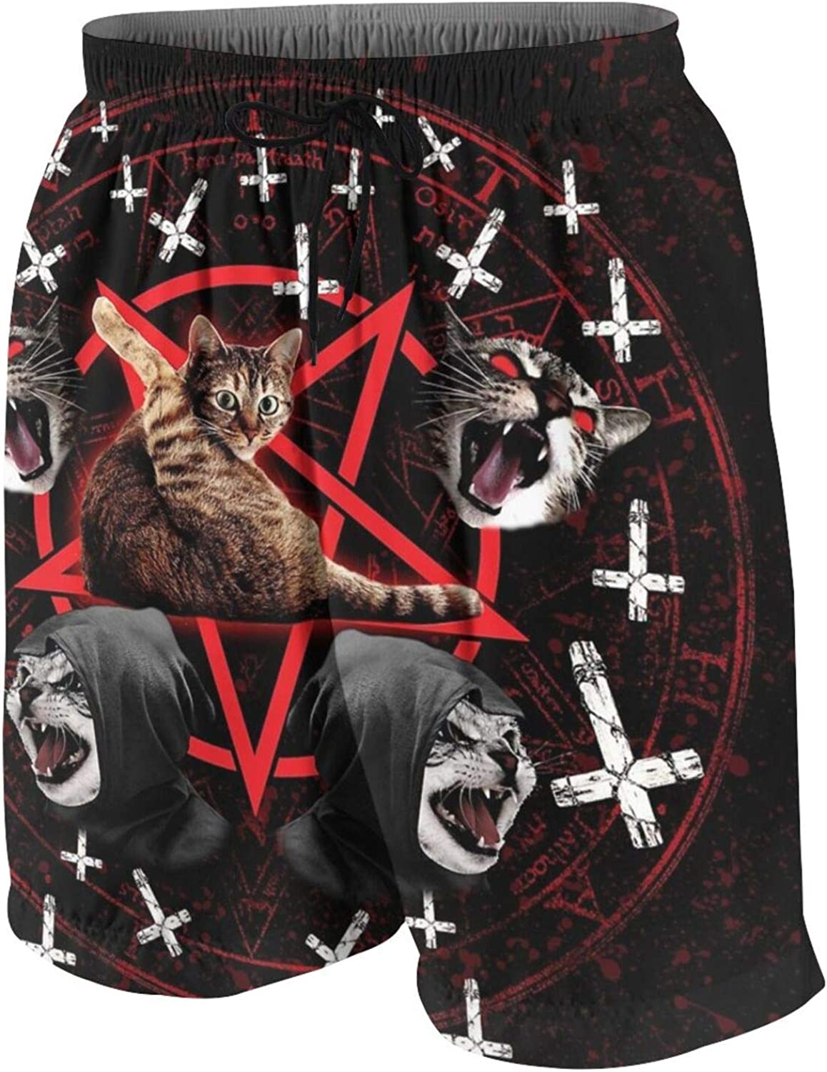 Pentagram Satanic Cats Death Black Metal Swim Trunks Quick Dry Beach Board Shorts Bathing Suit with Pockets for Teen Boys