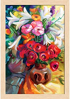 ArtzFolio Bouquet of Flowers D2 Paper Poster Natural Brown Frame | Top Acrylic Glass 13inch x 19inch (33cms x 48.3cms)
