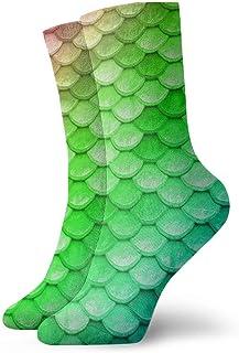 Niños Niñas Locos Divertidos Coloridos Escamas de sirena arcoiris Calcetines verdes Calcetines lindos de vestir de novedad