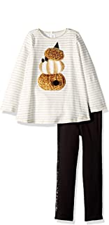 Mud Pie Girls' Little Halloween Pumpkin Tunic & Legging 2 Piece Set