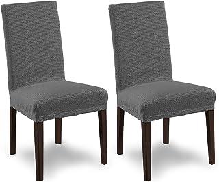 SCHEFFLER-Home Tunez 2 Fundas de sillas, Estirable Cubiertas, Moderna extraíble flexibel Funda con Banda elástica, Gris