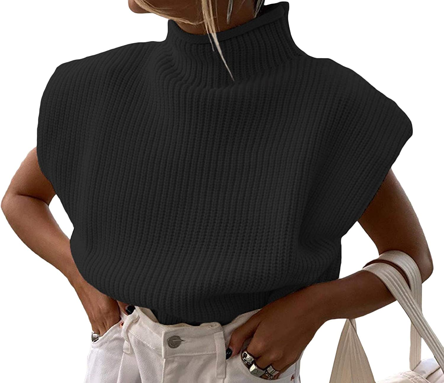 xxxiticat Womens Shoulder Pad Sweater Top Sleeveless Turtleneck Wide Shoulder Knitted Sweater Jumpers Chic Pullovers