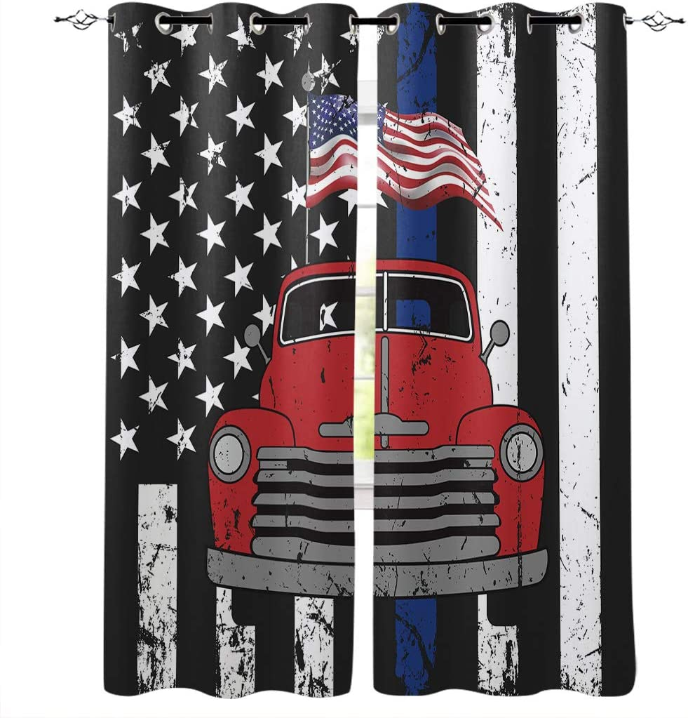 OneHoney Blackout Curtains for Bedroom お気に入 低価格化 Truck Red Farm Patriotic