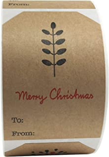 Natural Kraft Simple Christmas Gift Tags Holiday Present Stickers 2 x 3 Inch 100 Total Adhesive Labels