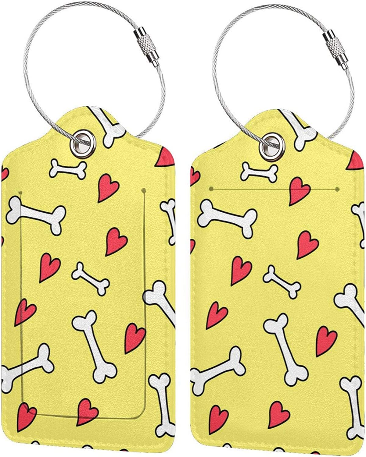 XKAWPC Cute Doodle Free Shipping New Bones Max 75% OFF and Hearts Luggage Fashion Tag Leather