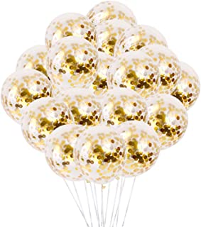 Gold Confetti Balloons Latex Party Balloons Thicken Round 12 Inch Golden Paper Confetti Dots Glossy Balloons for Birthday ...