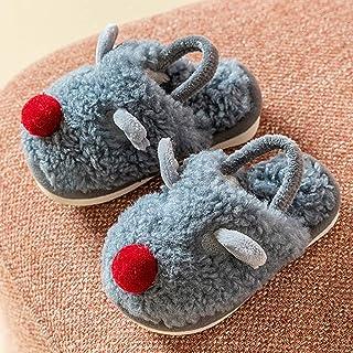ECSWP MSGWNHLPSB Nouveau Dessin Animé De Noël Enfants Pantoufles d'hiver Chaud en Peluche Épais Garçons Filles Chaussures ...