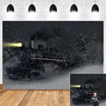 Night Snow Scenery Christmas Train Themed Photography Backdrop Family Photo Booth Studio Props Decoration Vinyl Polar Express Photo Background Xmas Birthday Party Supplies Banner 5x3ft Vinyl