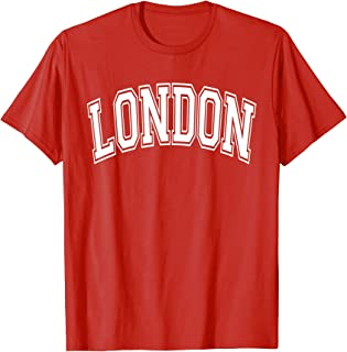 London Varsity Style Red with White Text T-Shirt