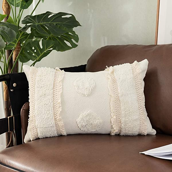 OJIA Lumbar Throw Pillow Covers Boho Decorative Accent Tribal Pillows Cover Neutral Collection Tufted Woven Cushion Case Farmhouse Decor For Home Party Car Office 12 X 20 Inch Cream Tufted