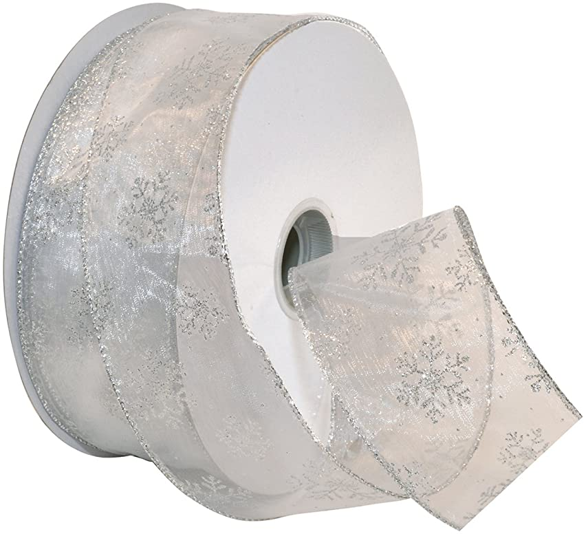 Morex Ribbon Snowflake Wired Sheer Glitter Ribbon