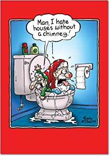12 'House with No Chimney' Boxed Christmas Cards with Envelopes 4.63 x 6.75 inch, Funny Santa Cartoon Holiday Notes, Santa Claus and His Helper in the Toilet Christmas Cards B5892