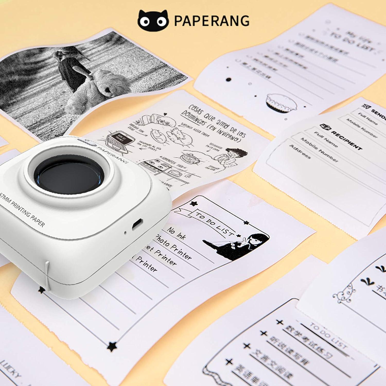 PAPERANG P1 Mini Pocket Printer Bluetooth Impresora t/érmica inal/ámbrica Impresora port/átil port/átil de 200 PPP para Foto Imagen Recibo Nota Nota Etiqueta Adhesiva
