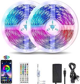 VIPMOON 20M / 65.6Ft Bluetooth Led Strip Light, Music Sync Flexible Color Changing RGB 5050 600 LEDs Rope Light Strips Kit...