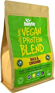 BodyMe Organic Vegan Protein Powder Blend | Raw Cinnamon | 1kg | UNSWEETENED | Low Carb | With 3 Plant Based Vegan Protein...