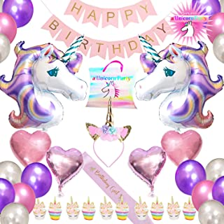 Unicorn Party Supplies Party Favors, Happy Birthday Banner, Unicorn Headband, Pink and Gold satin unicorn birthday Girl Sash, Cupcake Topper and Wrappers, plus Balloons