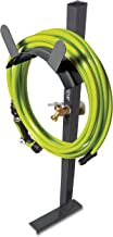 Aqua Joe SJ-SHSBB-GRY Free Steel Garden Hose Stand with Brass Faucet, w/Quick Install Anchor Base