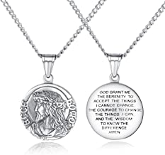 Iflytree Men Women Religious Stainless Steel Catholic Jesus Coin Medal Necklace Pendant Silver Gold Tone