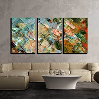 wall26 - 3 Piece Canvas Wall Art - Picture, Oil Paints: Abstract Background, Hand Paintings - Modern Home Decor Stretched and Framed Ready to Hang - 24