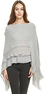 Women's Cable Knit Ruffle Poncho Sweater with Fringed Hems