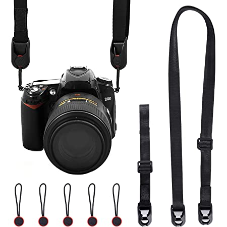 UCEC カメラストラップ 長さ調整可能 ネックストラップ+ハンドストラップ 一眼レフ/速写/デジカメなど用ストラップ ショルダーストラップ 黒
