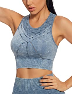 SEVEGO Women's Athletic Sports Bra Mesh Back Seamless Medium Impact with Removable Pads Hook Raceback Yoga Gym Bra
