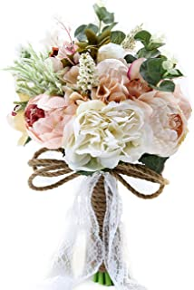 "Pauwer 9.5"" Artificial Peony Rose Flower Handmade Silk Wedding Bridal Bridesmaid Bouquets Contemporary Champagne"