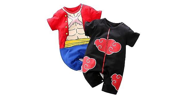 Dragon Ball Z,One Piece,Naruto,Goku,Vegeta YFYBaby Baby Boys Girls 2 Pack Short Sleeve Romper