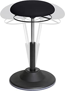 Seville Classics Airlift 360 Sit-Stand Adjustable Ergonomic Active Balance Non-Slip Desk Stool, Black