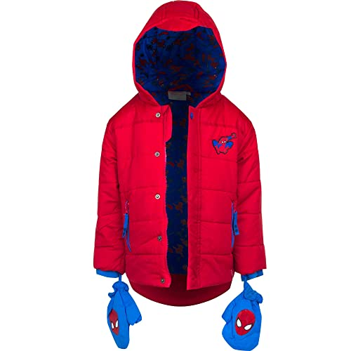 0675df4a4 Boys Winter Puffer Coats Character Spiderman Star Wars Hooded Jacket Size 2  3 4 5 6