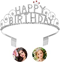 Frcolor Happy Birthday Tiara Crystal Rhinestone Crown Tiara Wedding Hair Comb Bridal Birthday Headband for Women