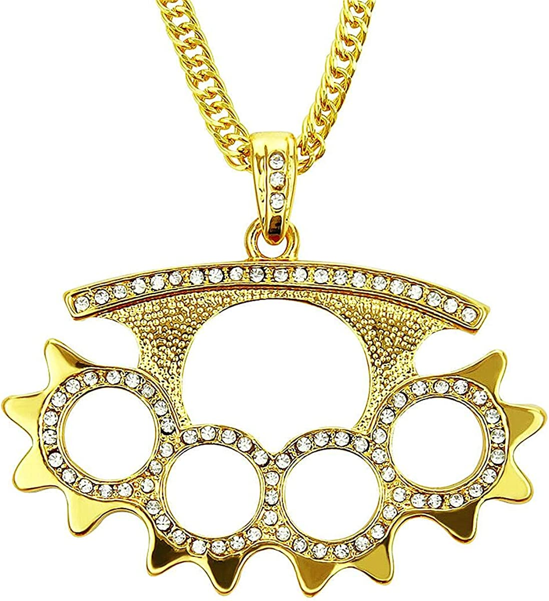 Ouvia Iced Out Chain Gears Pendant Necklace Army Military Style Hip Hop Iced Out Chain Rap Punk Rock Clubs Disco Diamond Bling Halloween Cosplay Pennywise Costume boys jewelry Cuban Link chain for men