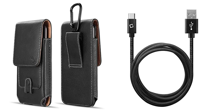 Luxmo Vertical Belt Holster Carrying Case with Card Slots (Black) for LG V50 ThinQ with Extra Long Heavy Duty Braided USB to Type-C Sync Charger Cable (10 Feet), Atom Cloth