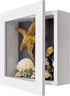 Golden State Art, 8x8 inch White Shadow Box Frame Display Case, 2-inch Depth, Great for Collages, Collections, Mementos (White)