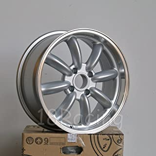 4 PCS ROTA RB WHEELS 17X7.5 PCD: 4x100 OFFSET: 45 HB:56.1 SILVER WITH POLISH LIP