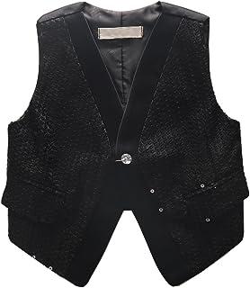 Coodebear Boys' Girls' Lined False Pockets Buttons V Collar Stage Performance Sequins Vests
