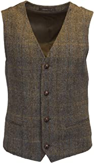 Walker & Hawkes - Mens Classic Scottish Harris Tweed Herringbone Overcheck Country Waistcoat - Clinton Brown - 50