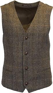 Walker & Hawkes - Mens Classic Scottish Harris Tweed Herringbone Overcheck Country Waistcoat Vest - Clinton Brown - 38-48