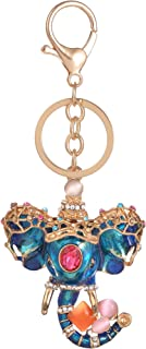 Giftale Blue Elephant Keychain for Women Cute Bag Charms Crystal Rhinestone Pendant Car Key Ring