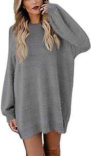Vestido De Suéter Pullover Invierno para Mujer Cálido Tallas Grandes Manga Largas Suelto Señora Elegantes