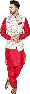 SKAVIJ Men's Indian Silk Blend Kurta Pajama And Nehru Jacket (Waistcoat) Traditional Wedding Party Festive Season Dress Set
