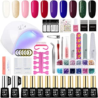 Coscelia 10pc Gel Nail Polish Kit with 36W Nail Dryer, Top Coat, Base Coat, Manicure Tools Accesories Decorations