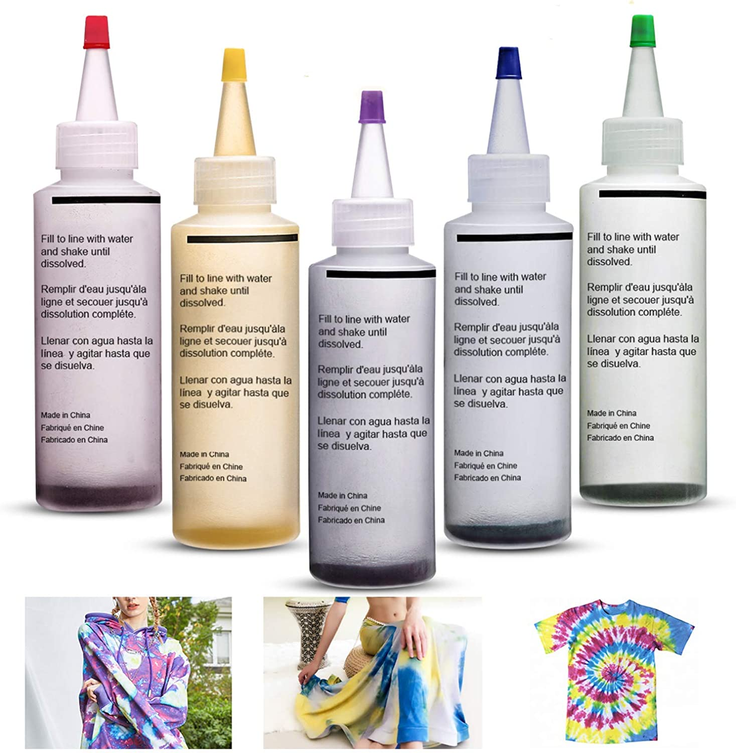 ESSORT Easy-to-use Tie Dye Kit New color 5 Colors Textile Large P Shirts Fabric 120ml