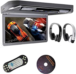 "XTRONS Grey 13.3"" HD 1080P Video Car MPV Roof Flip Down Slim Overhead DVD Player Wide Screen Ultra-Thin with HDMI Input 2PCS Black & White New IR Headphones Included"