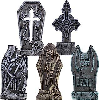 "Best JOYIN 17"" Halloween Foam RIP Graveyard Tombstones (5 Pack), Headstone Decorations and 12 Bonus Metal Stakes for Halloween Yard Decorations Review"