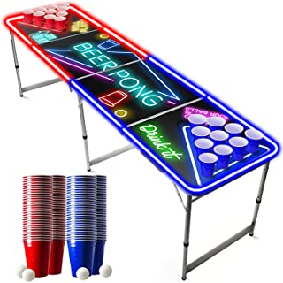 Pack Beer Pong Officiel Spot Light   Néons   1 Table Beer Pong Lumineuse + 120 Cups (60 Blue & 60 Red) + 6 Balles   Kit Co...