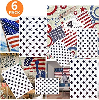 6 Pieces 50 Star Stencil Template Different Sizes, Minelife Reusable Stencil Plate for American Flag Painting on Wood, Wall, Art, Paper, Fabric, Airbrush Mylar Template(2 Large, 2 Medium, 2 Small)